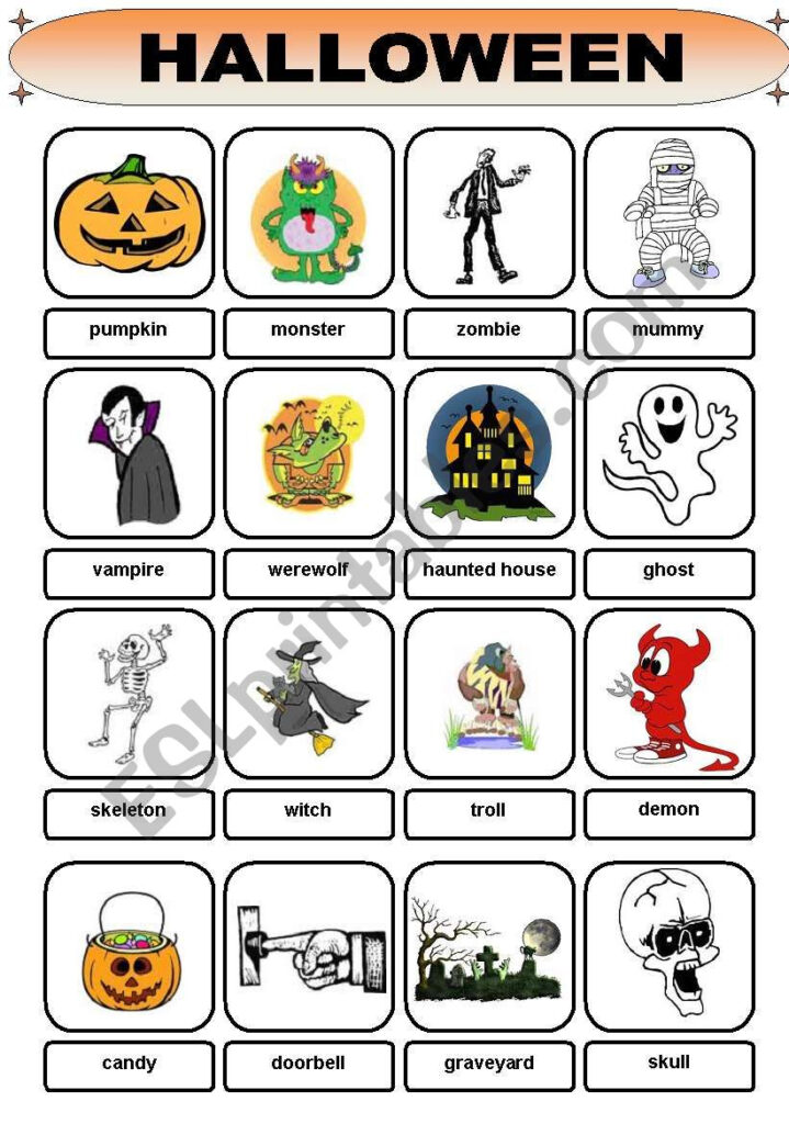 Halloween Vocabulary   Esl Worksheetbrent Dws