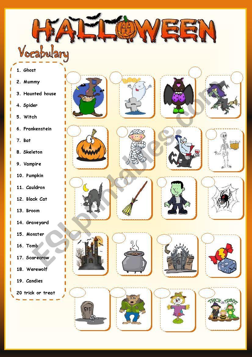 Halloween Vocabulary * - Esl Worksheetllkristianll