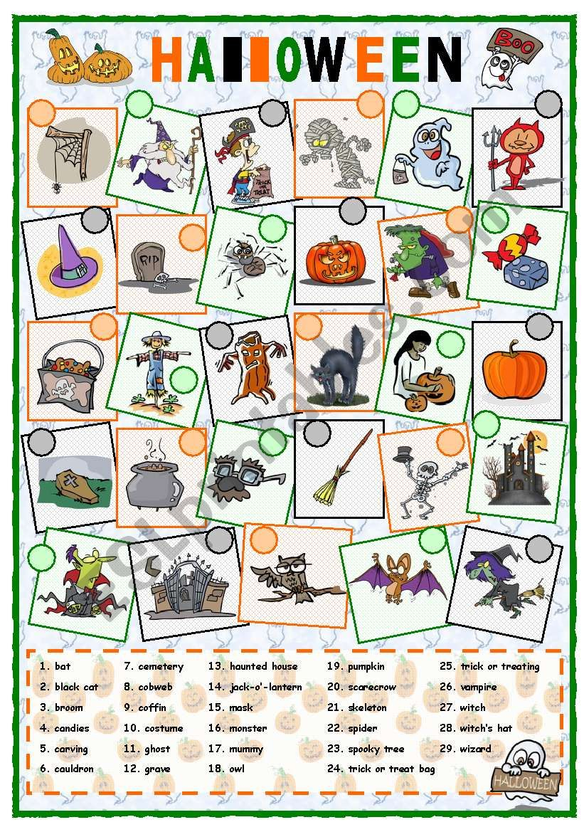 Halloween Vocabulary - Esl Worksheetmpotb