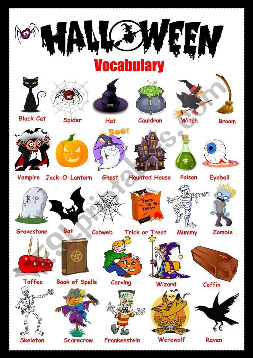 Halloween Vocabulary - Esl Worksheetsolnechnaya