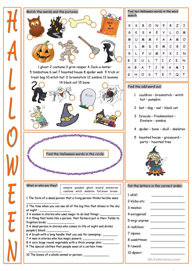 Halloween Vocabulary Exercises - English Esl Worksheets For