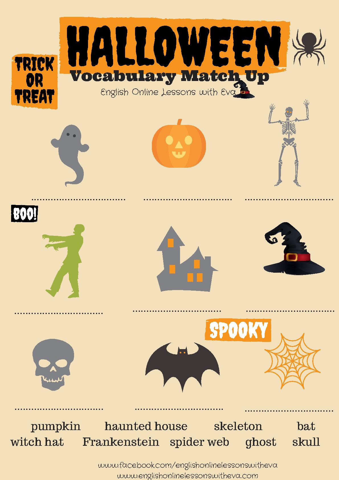 Halloween Vocabulary Match Up | Halloween Vocabulary