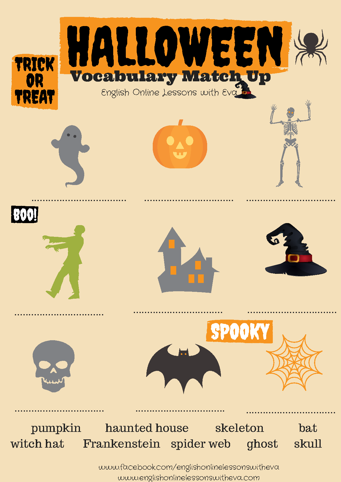 Halloween Vocabulary Match Up | Halloween Vocabulary
