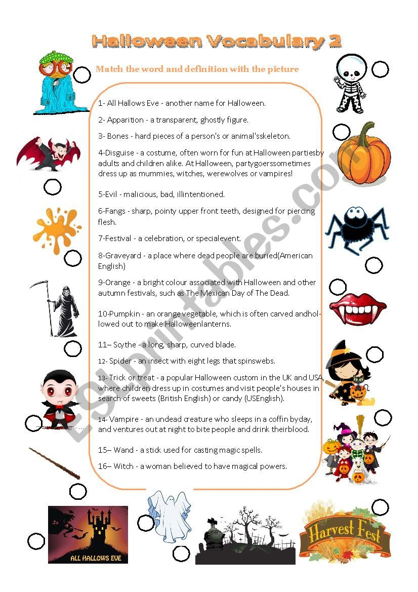 Halloween Vocabulary Matching Picture With Definition And