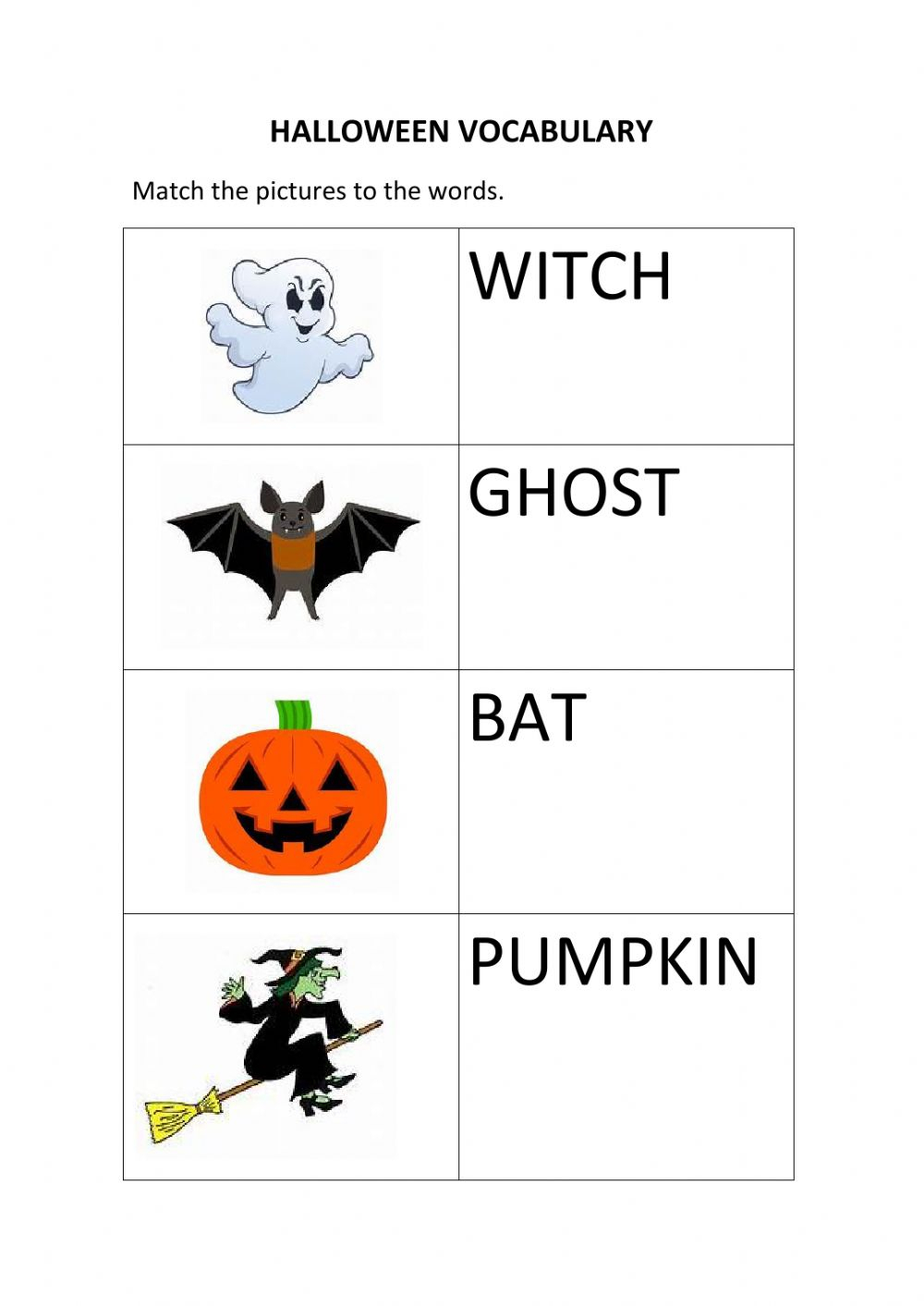 Halloween Vocabulary Matching Worksheet
