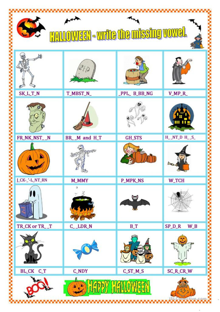 Halloween   Vocabulary & Missing Vowel   English Esl