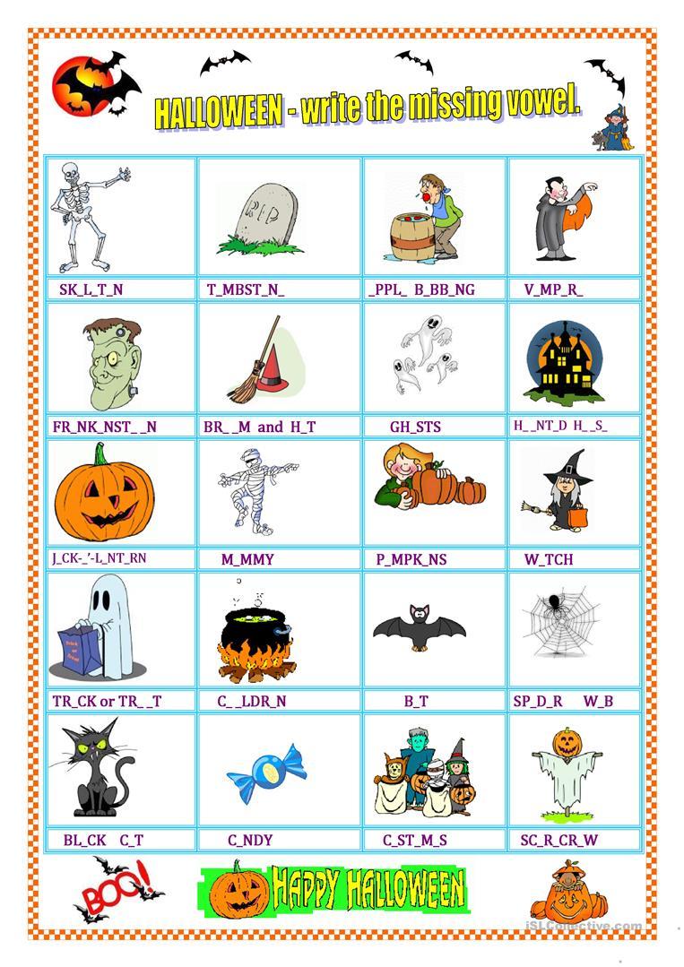 Halloween - Vocabulary & Missing Vowel - English Esl
