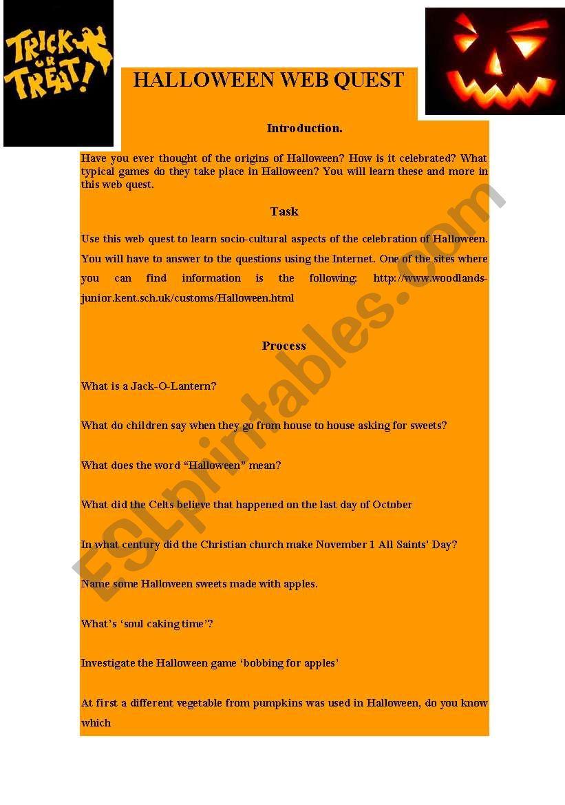 Halloween Web Quest - Esl Worksheetpreiselbeeren