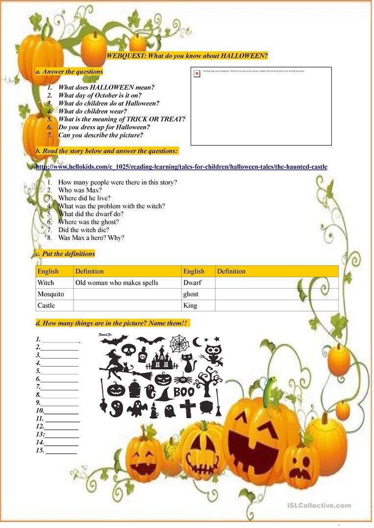 Halloween Webquest - English Esl Worksheets For Distance