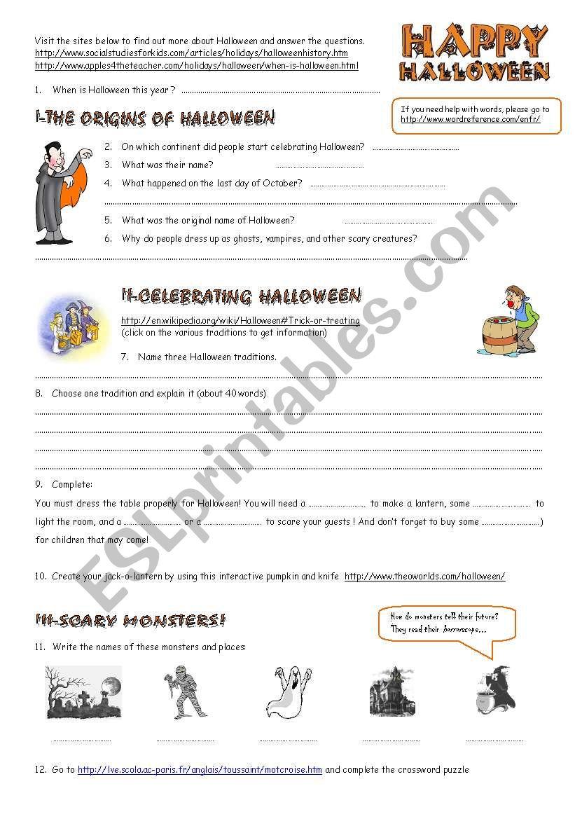 Halloween Webquest - Esl Worksheetestelle73