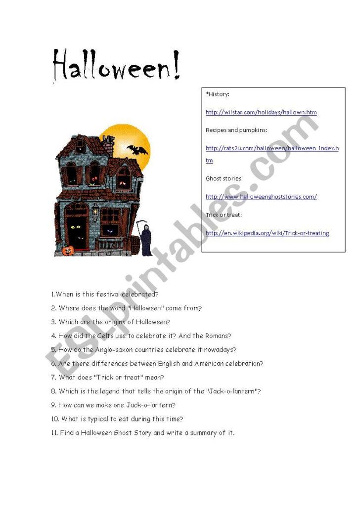 Halloween Webquest   Esl Worksheetmaienglish