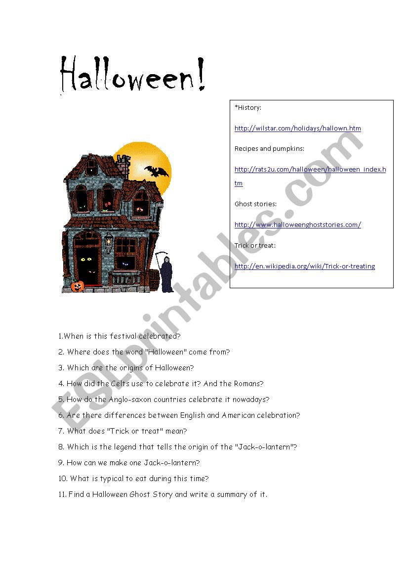 Halloween Webquest - Esl Worksheetmaienglish