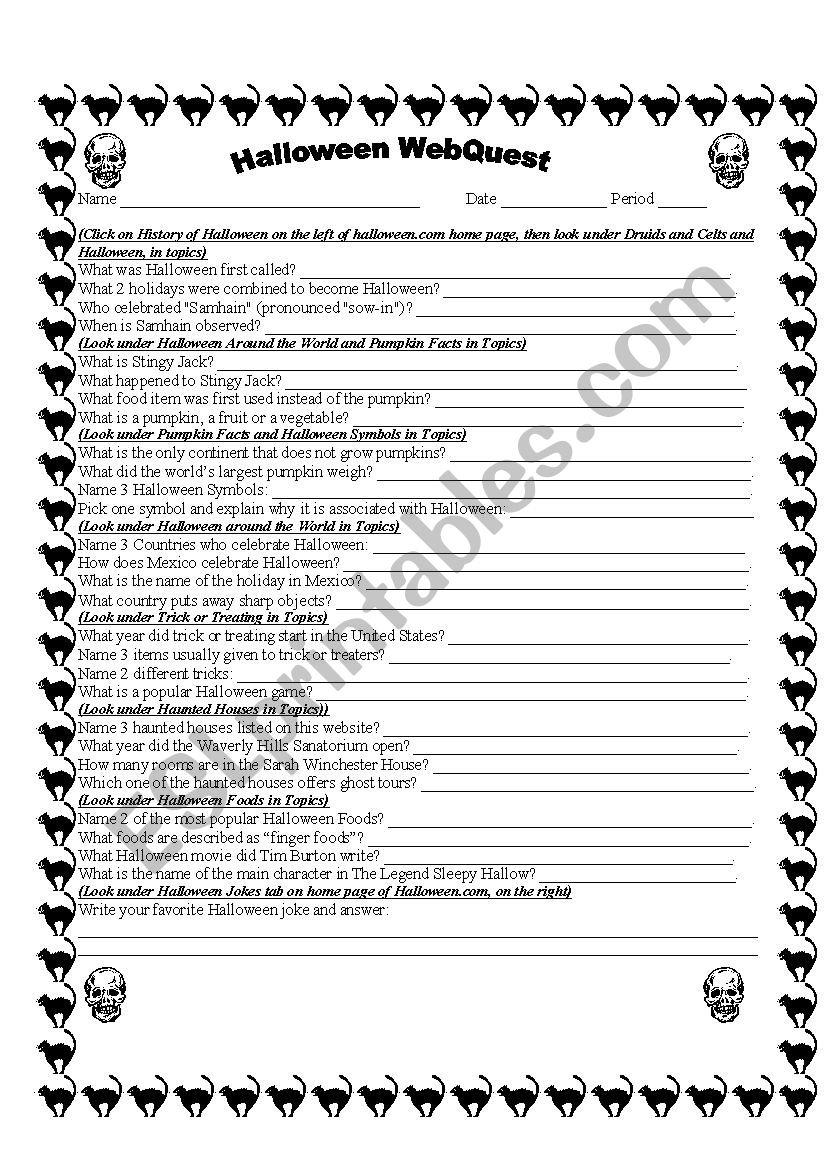 Halloween Webquest - Esl Worksheetnymphea2000
