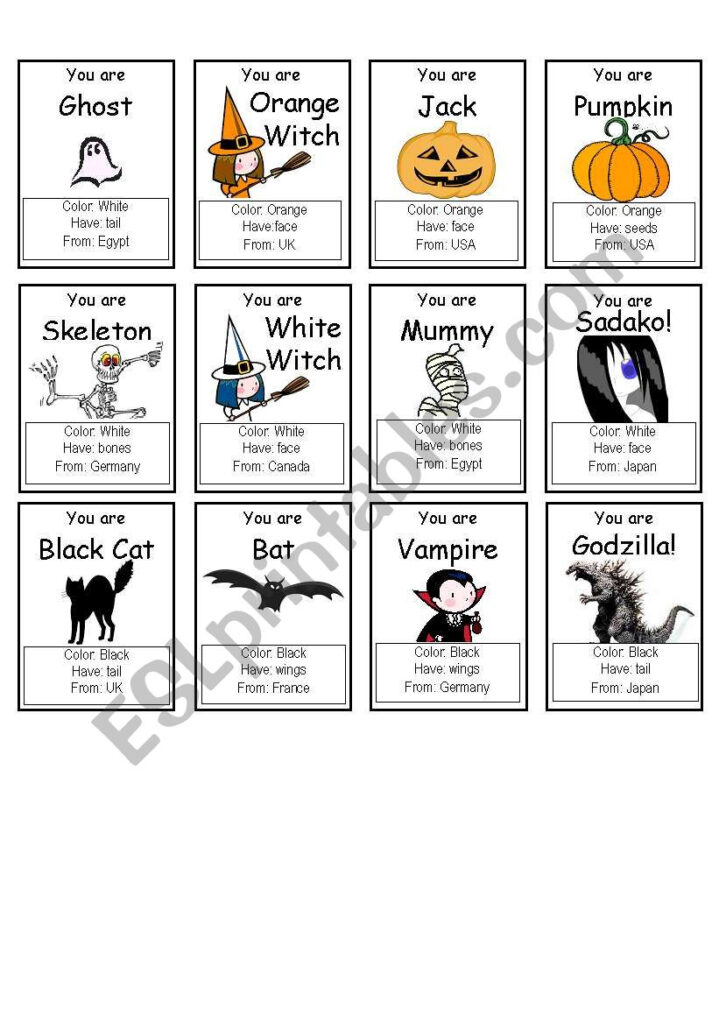 "Halloween ""who Am I?"" Game   Esl Worksheetpallmand"