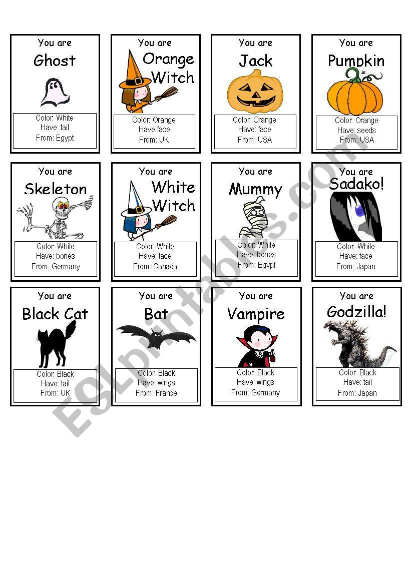"Halloween ""who Am I?"" Game - Esl Worksheetpallmand"