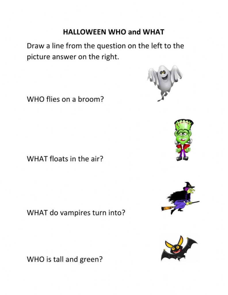 Halloween Who And What Worksheet