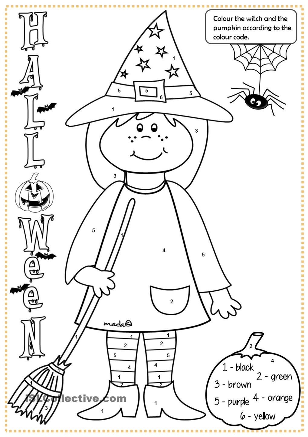 Halloween Witch - Colouring   Halloween Worksheets