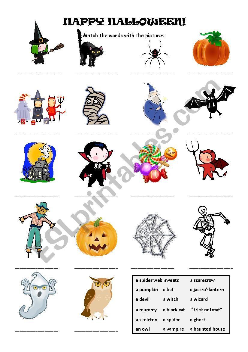Halloween Word Match - Esl Worksheetmerituuli