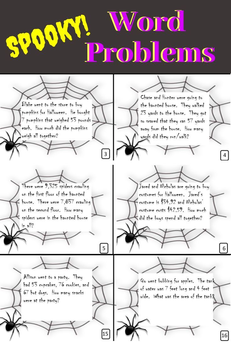 Halloween Word Problems 4Th-5Th Grade | Halloween Word