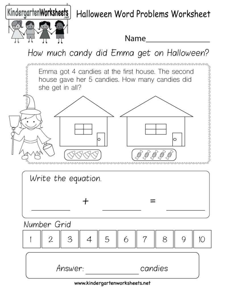 Halloween Word Problems Worksheet   Free Kindergarten