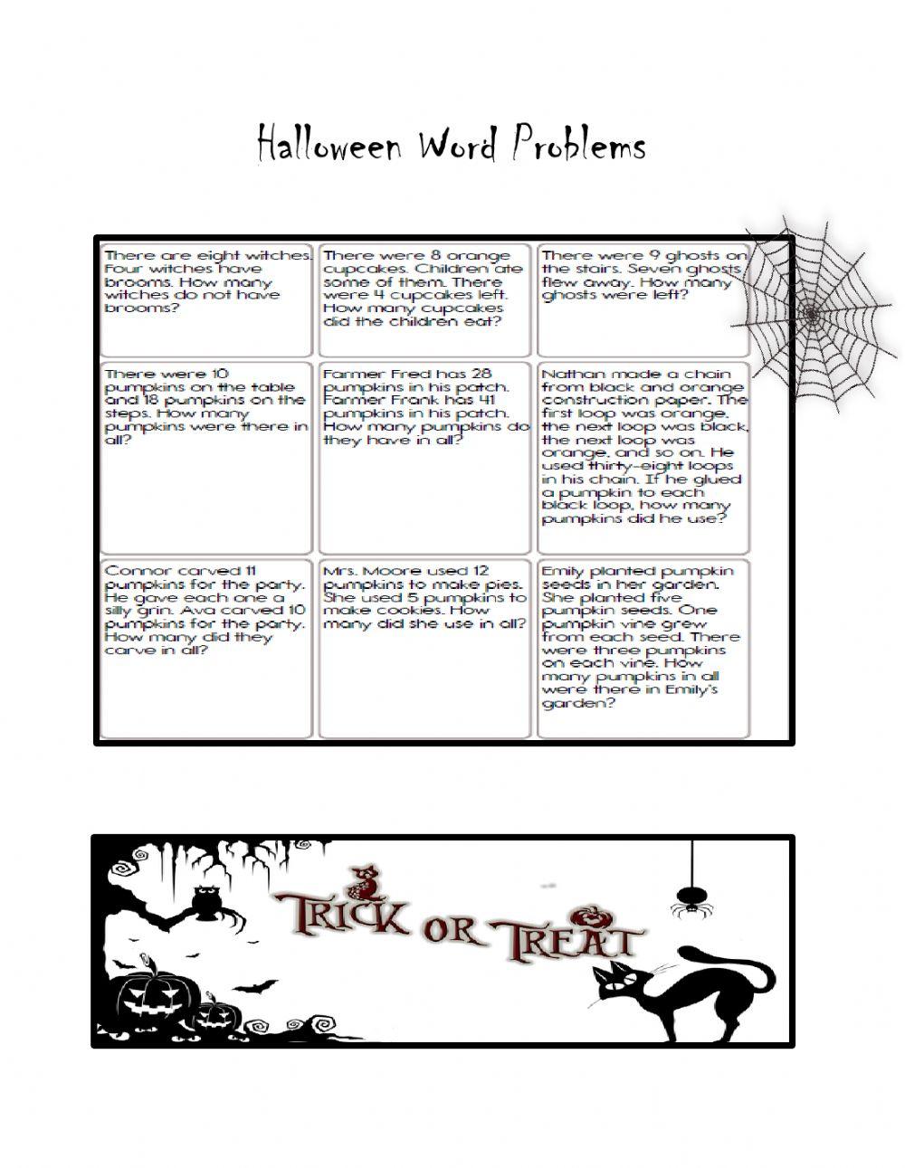 Halloween Word Problems Worksheet