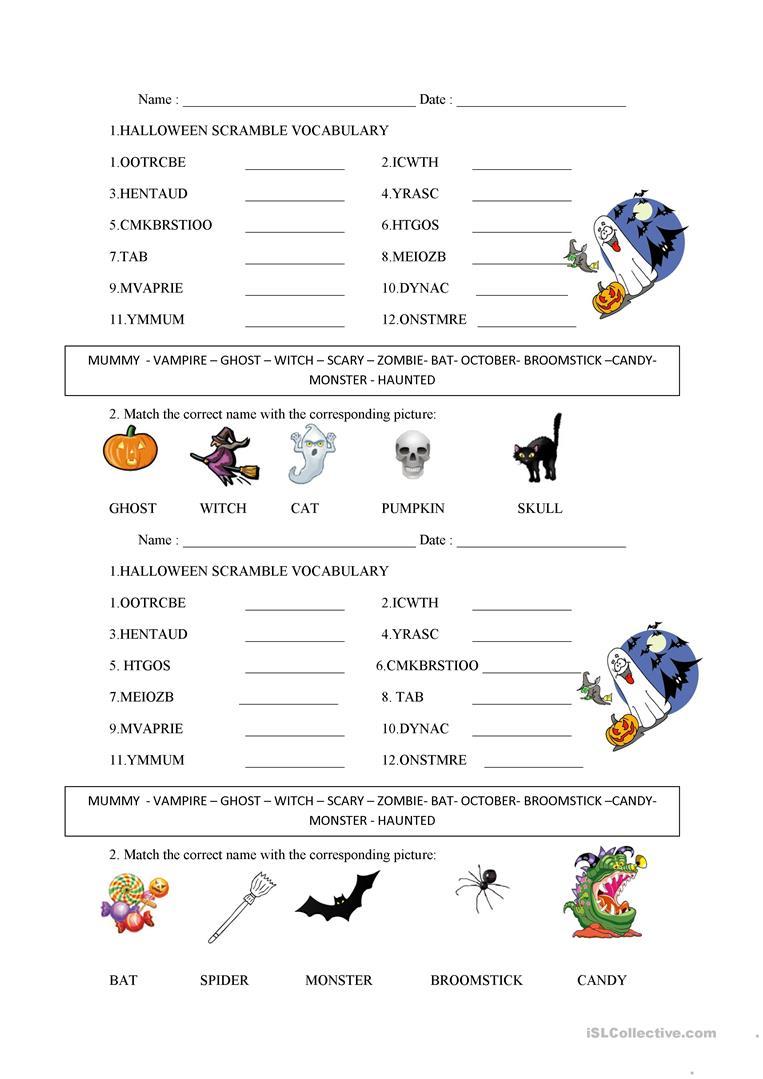 Halloween Word Scramble - English Esl Worksheets For