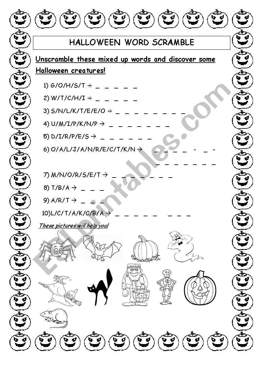 Halloween Word Scramble - Esl Worksheetdelph