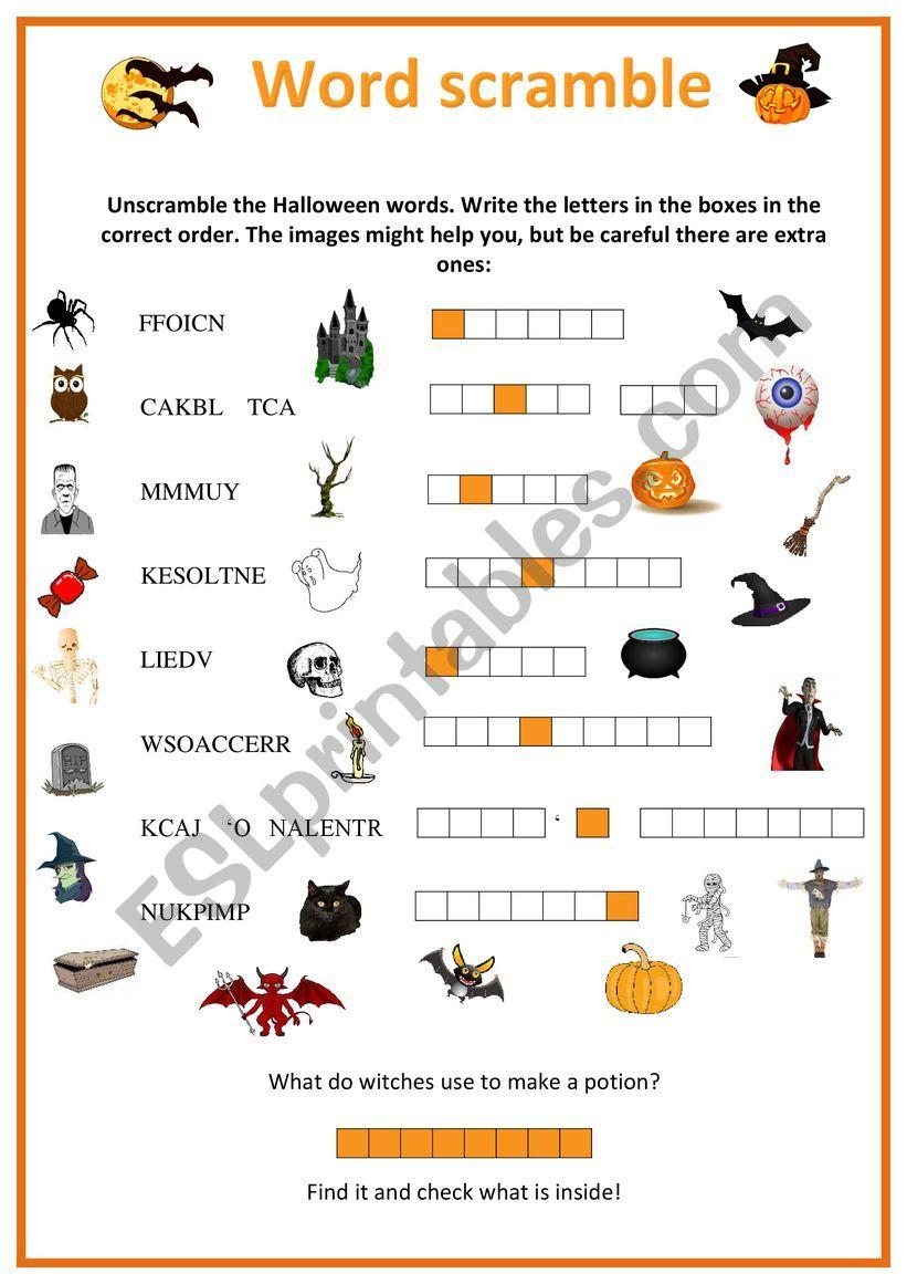Halloween Word Scramble - Esl Worksheetursula Kirsten