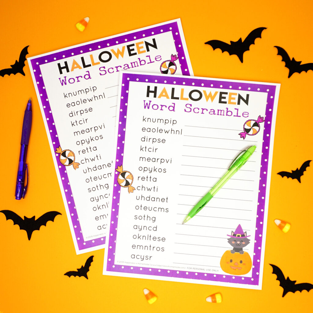 Halloween Word Scramble For Kids   Happiness Is Homemade