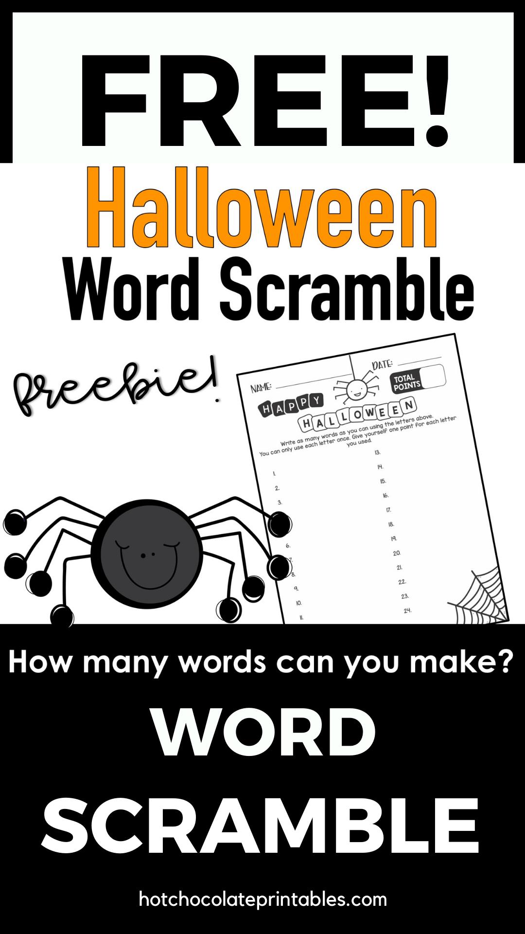 Halloween Word Scramble Worksheet {Freebie} How Many Words