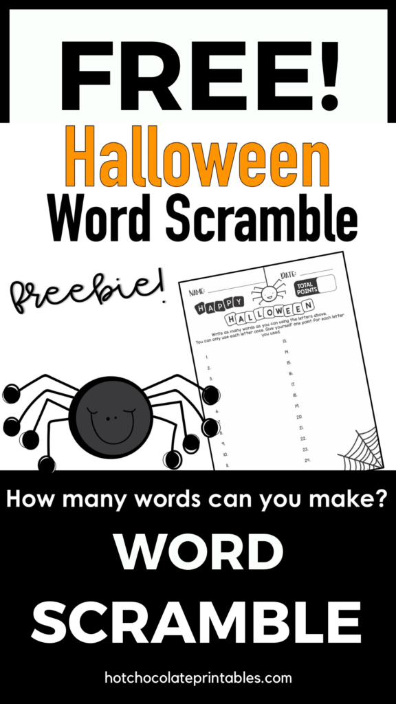 Halloween Word Scramble Worksheet {Freebie} How Many Words