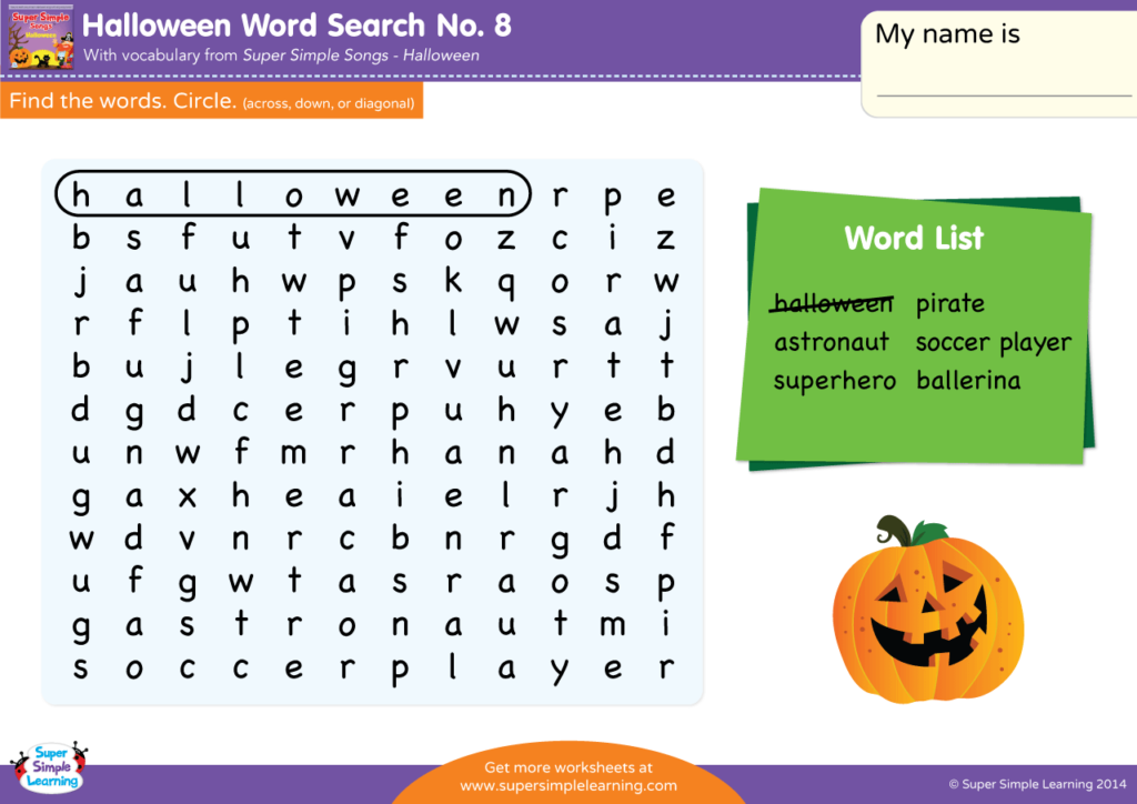 Halloween Word Search #8   Super Simple