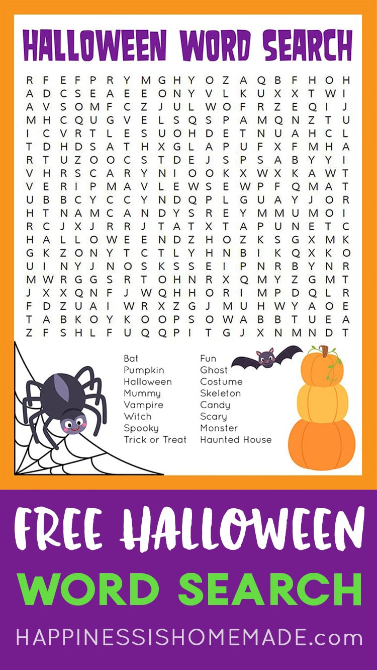 Halloween Word Search Printable - Happiness Is Homemade