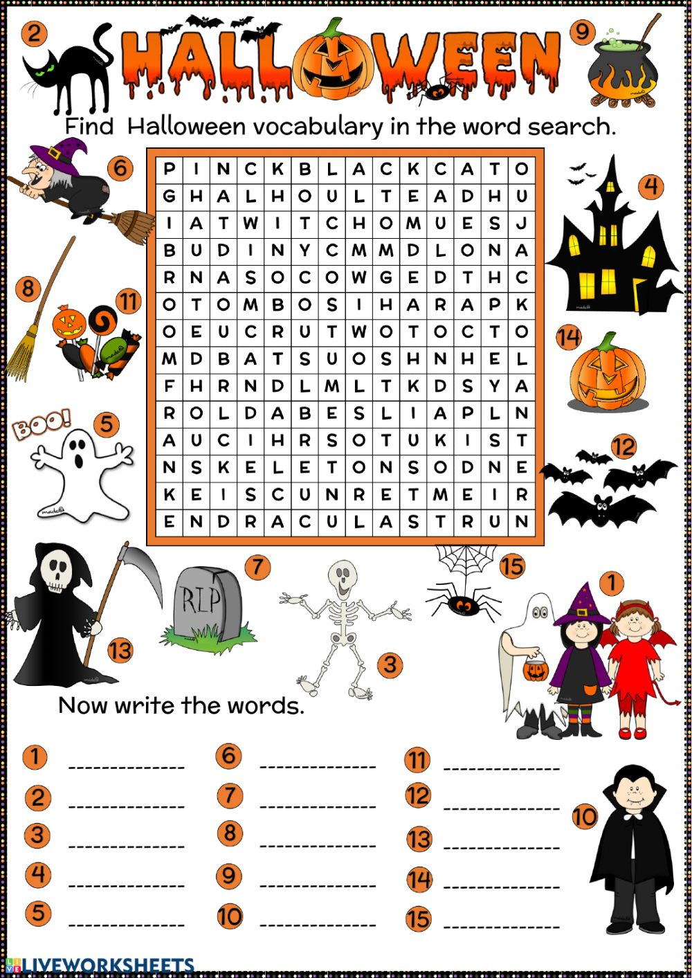 Halloween Word Search Worksheet
