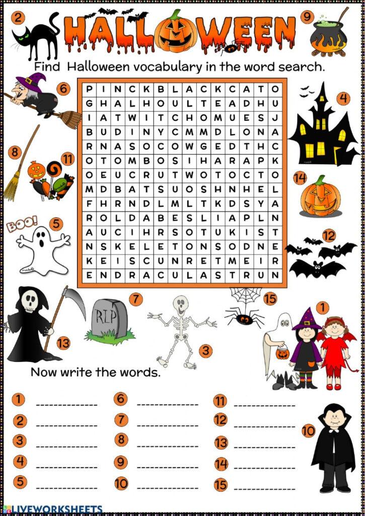 Halloween Word Search Worksheet