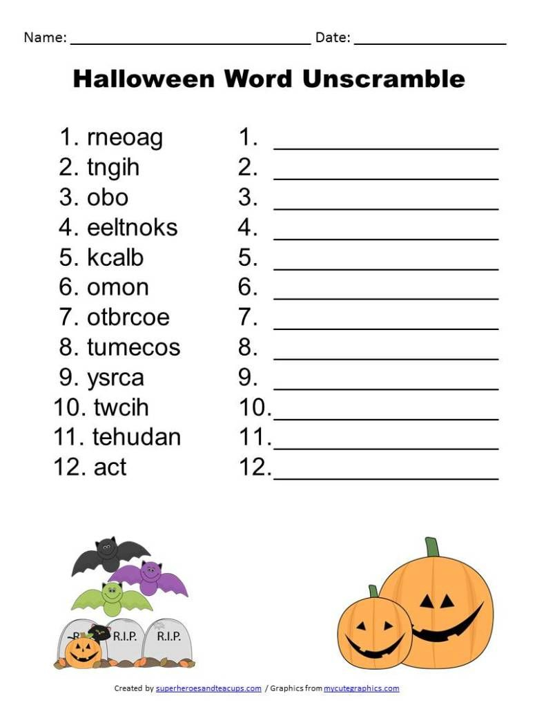 Halloween Word Unscramble Free Printable | Superheroes And