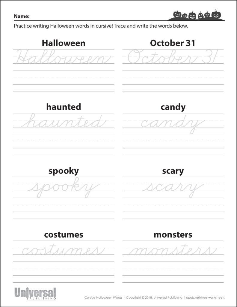 Halloween Words Cursive   Universal Publishing Blog