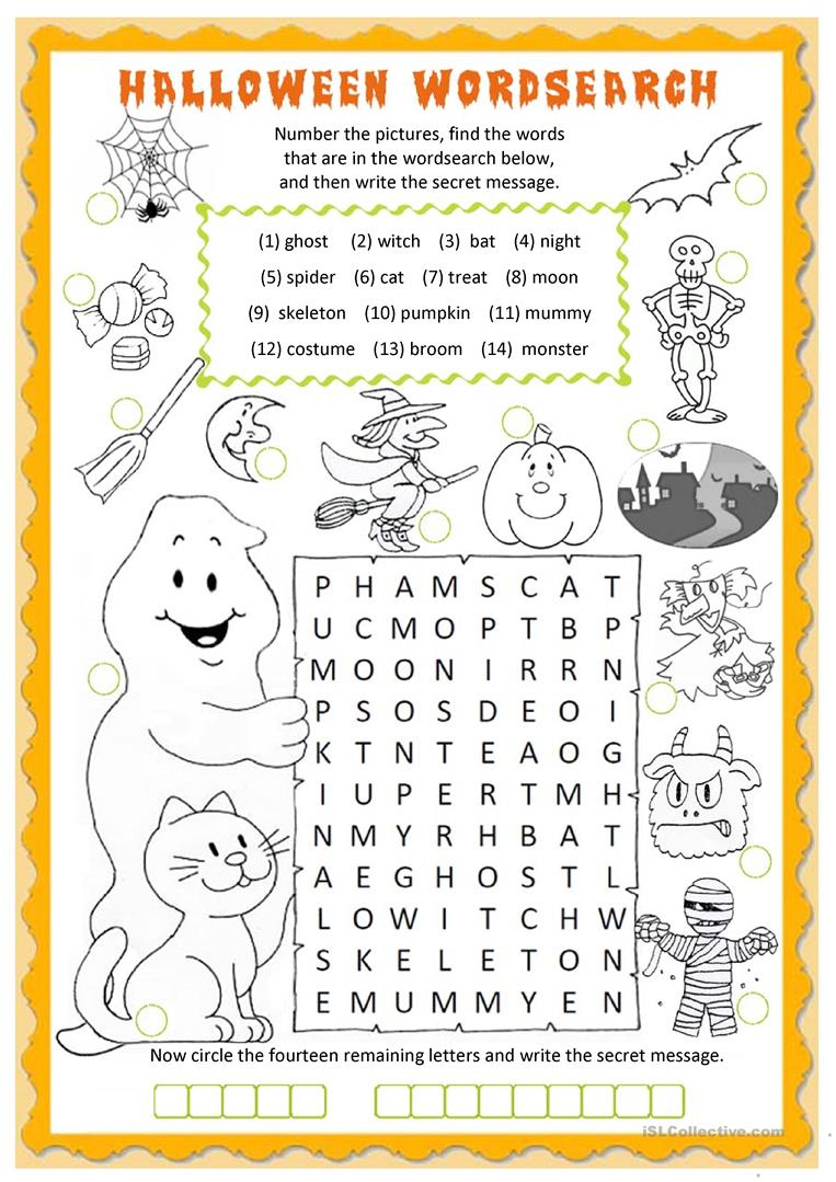 Halloween Wordsearch - English Esl Worksheets For Distance