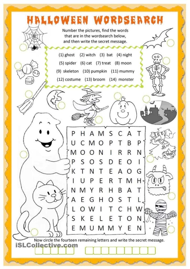 Halloween Wordsearch Worksheet   Free Esl Printable