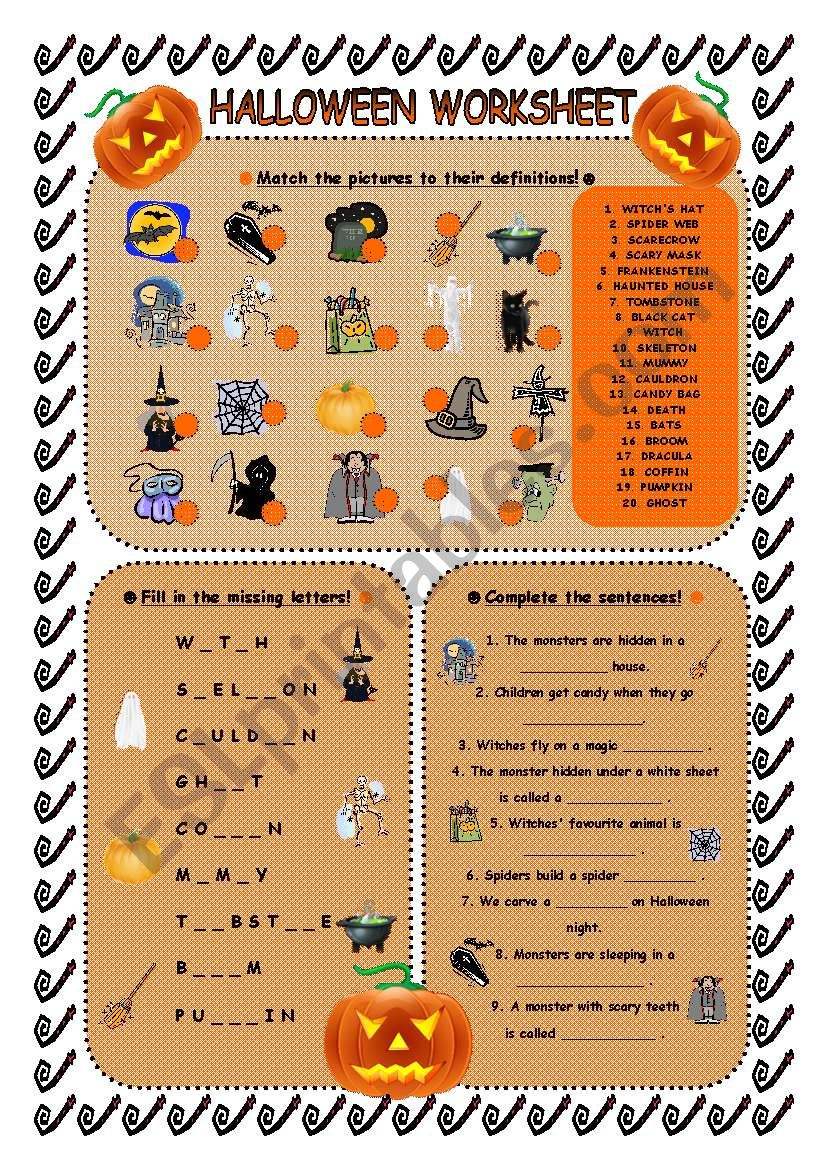 Halloween Worksheet - Esl Worksheetandrea_Cro