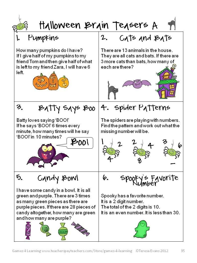 Halloween Worksheets For 4Th Grade Fun Games 4 Learning