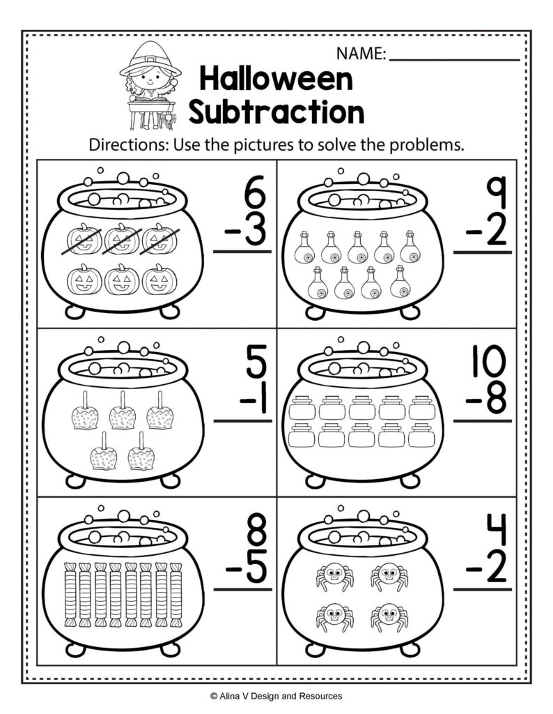 Halloween Worksheets For First Grade Halloween Math