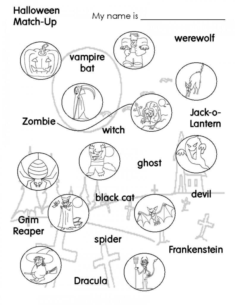 Halloween Worksheets Printables Middle School Printable Area