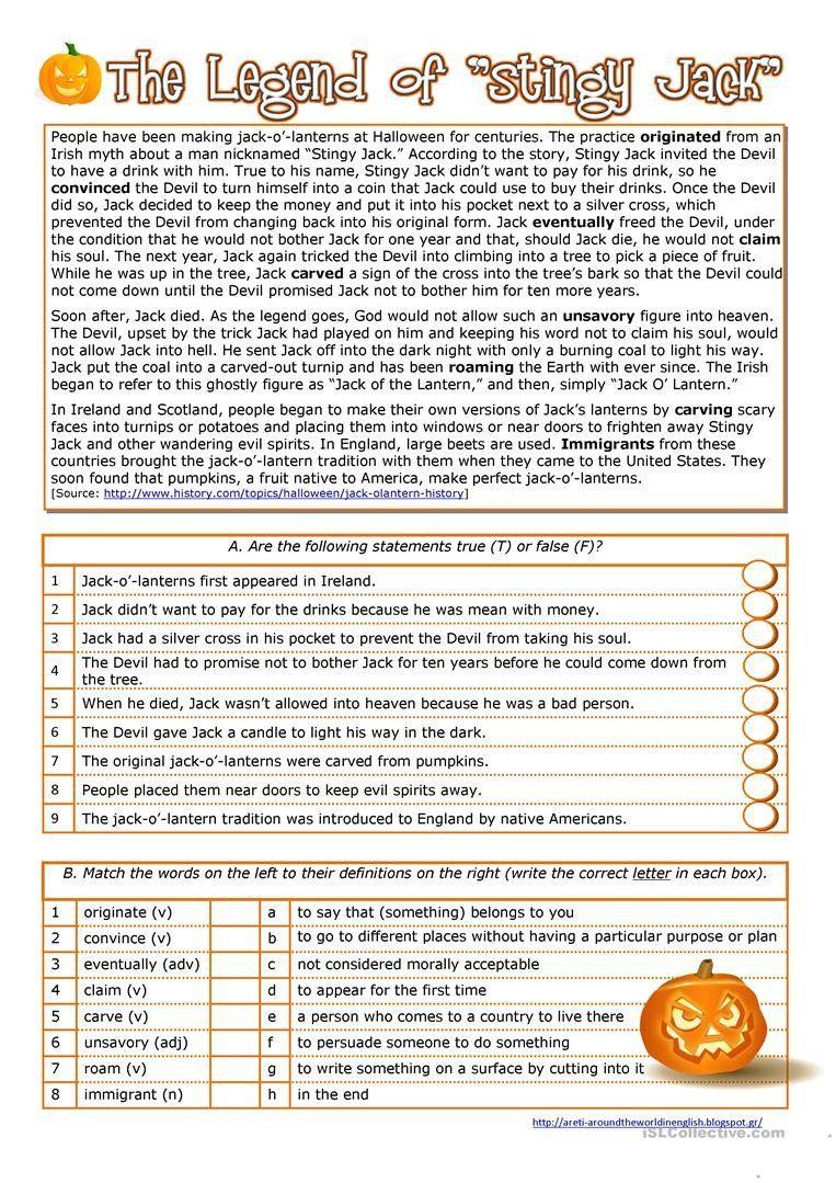 Halloween Worksheets Reading Comprehension Halloween History