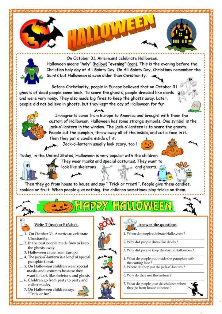 Halloween Worksheets Reading Comprehension Halloween Reading