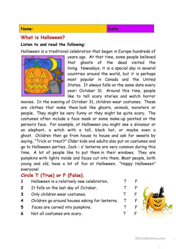Halloween Worksheets Reading Comprehension What Is Halloween