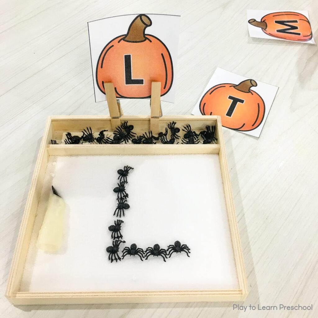 Halloween Writing Trays Preschool Letters Holiday Sensory