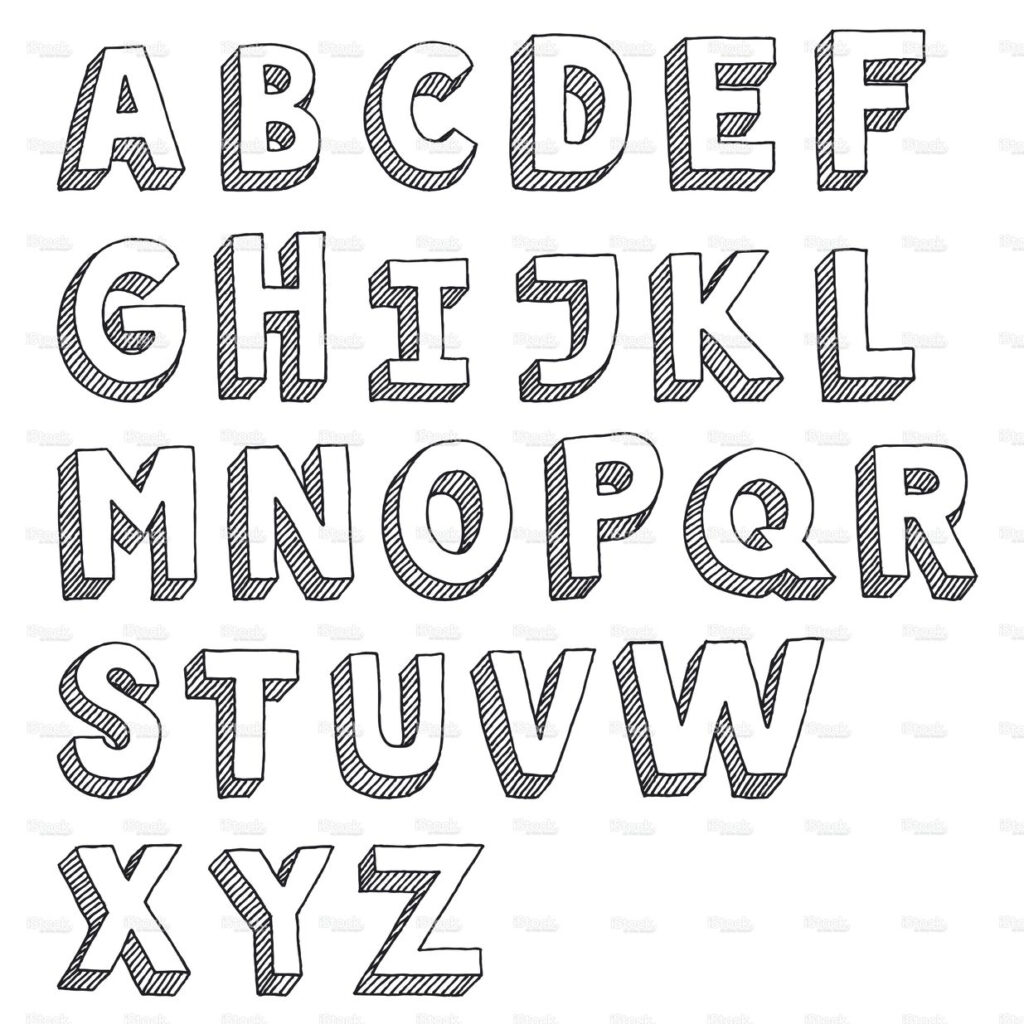 Hand Drawn Vector Drawing Of An Sans Serif Alphabet  Capital