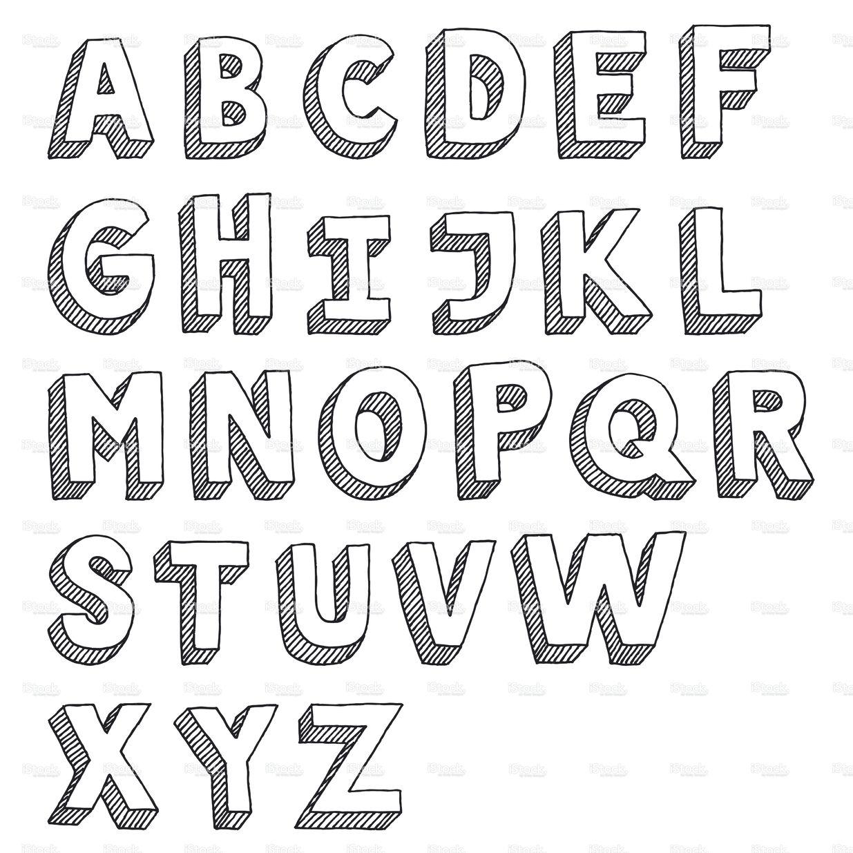 Hand-Drawn Vector Drawing Of An Sans Serif Alphabet -Capital