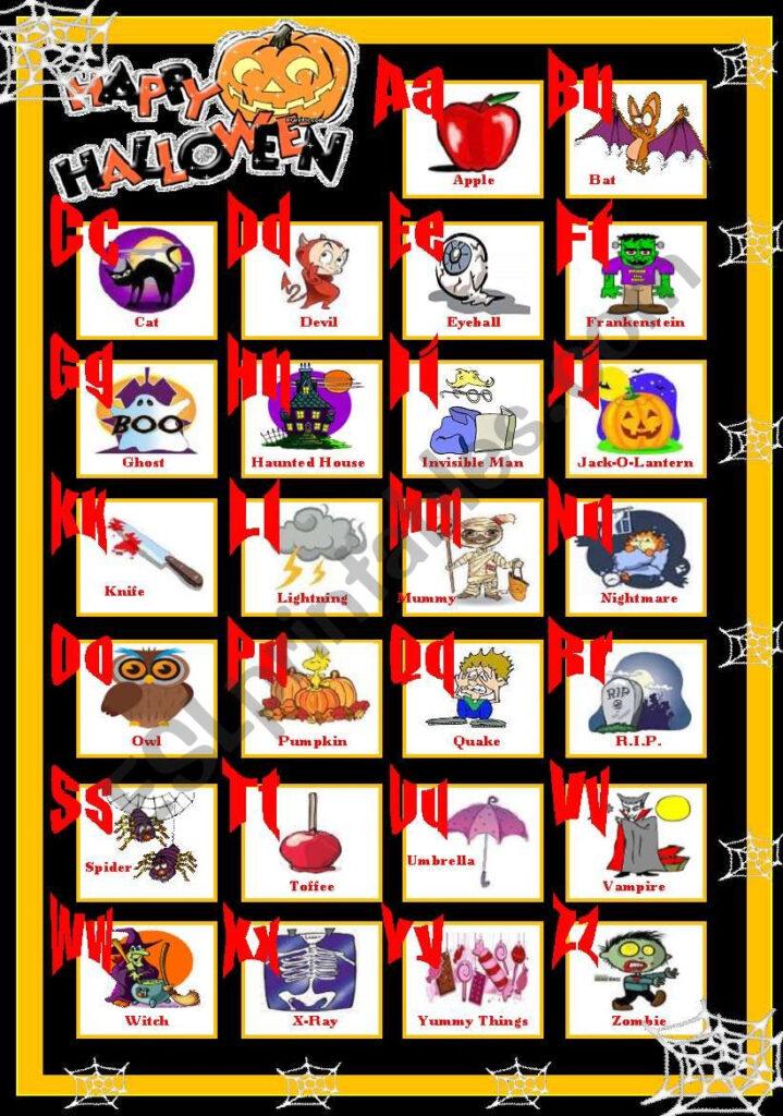 Happy Halloween Abc   Esl Worksheetsolnechnaya